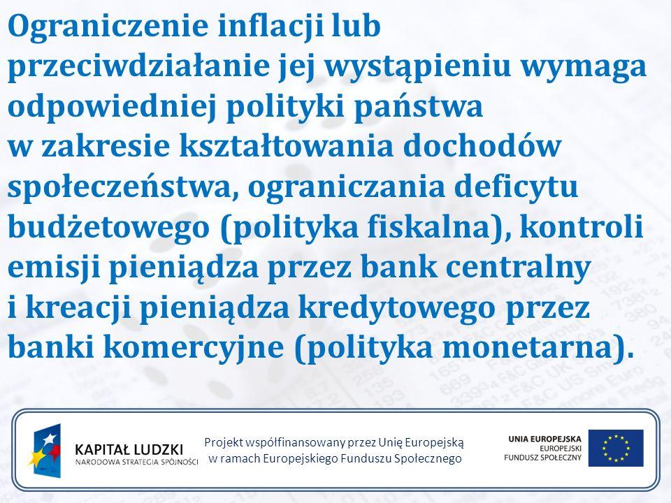 Projekt współfinansowany przez Unię Europejską w ramach Europejskiego Funduszu Społecznego Ograniczenie inflacji lub przeciwdziałanie jej wystąpieniu wymaga odpowiedniej polityki państwa w zakresie kształtowania dochodów społeczeństwa, ograniczania deficytu budżetowego (polityka fiskalna), kontroli emisji pieniądza przez bank centralny i kreacji pieniądza kredytowego przez banki komercyjne (polityka monetarna).