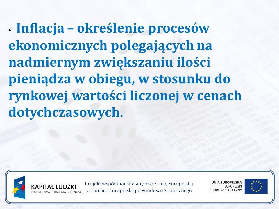 Projekt współfinansowany przez Unię Europejską w ramach Europejskiego Funduszu Społecznego Inflacja – określenie procesów ekonomicznych polegających na nadmiernym zwiększaniu ilości pieniądza w obiegu, w stosunku do rynkowej wartości liczonej w cenach dotychczasowych.