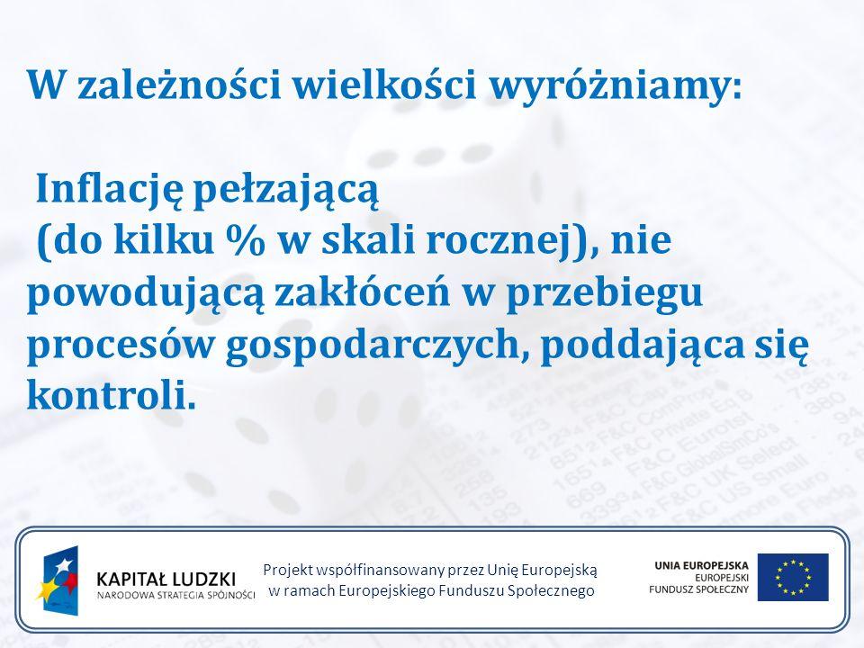 Projekt współfinansowany przez Unię Europejską w ramach Europejskiego Funduszu Społecznego W zależności wielkości wyróżniamy: Inflację pełzającą (do kilku % w skali rocznej), nie powodującą zakłóceń w przebiegu procesów gospodarczych, poddająca się kontroli.