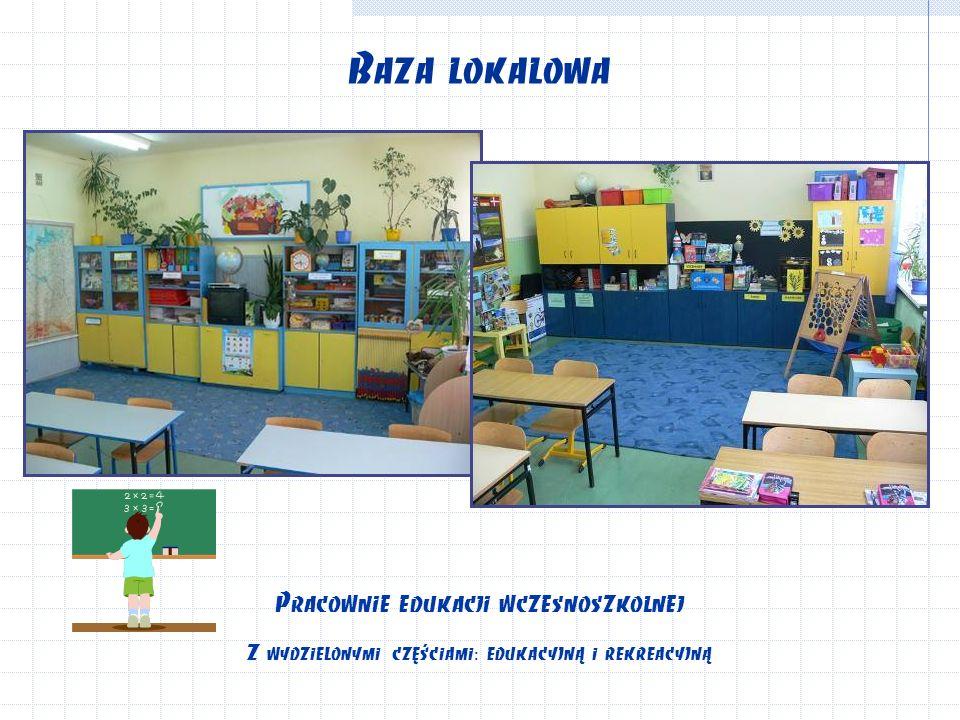 Baza lokalowa Pracownie edukacji wczesnoszkolnej Z wydzielonymi częściami: edukacyjną i rekreacyjną