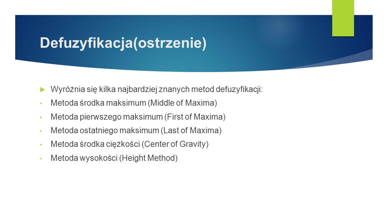 Defuzyfikacja(ostrzenie)  Wyróżnia się kilka najbardziej znanych metod defuzyfikacji: Metoda środka maksimum (Middle of Maxima) Metoda pierwszego maksimum (First of Maxima) Metoda ostatniego maksimum (Last of Maxima) Metoda środka ciężkości (Center of Gravity) Metoda wysokości (Height Method)