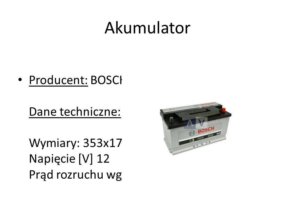 Akumulator Producent: BOSCH GERMANY Dane techniczne: Wymiary: 353x175x190 Napięcie [V] 12 Prąd rozruchu wg EN [A] 720