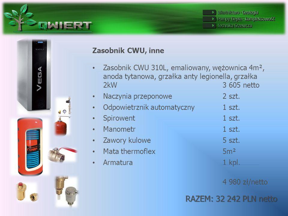 RAZEM: 32 242 PLN netto Zasobnik CWU, inne Zasobnik CWU 310L, emaliowany, wężownica 4m², anoda tytanowa, grzałka anty legionella, grzałka 2kW 3 605 netto Naczynia przeponowe 2 szt.