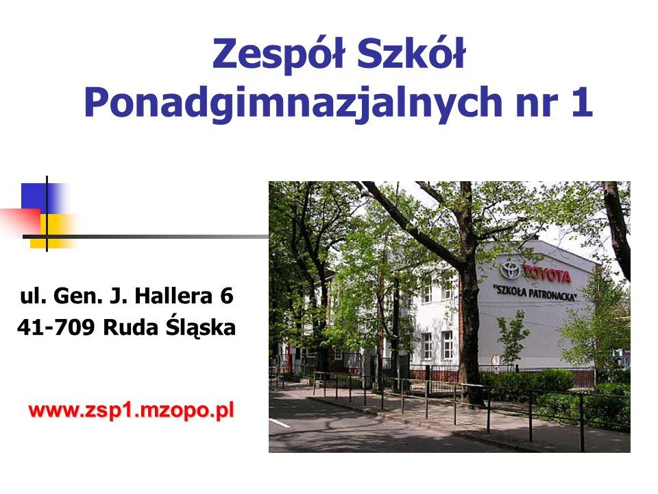 Zespół Szkół Ponadgimnazjalnych nr 1 ul. Gen. J. Hallera 6 41-709 Ruda Śląska www.zsp1.mzopo.pl