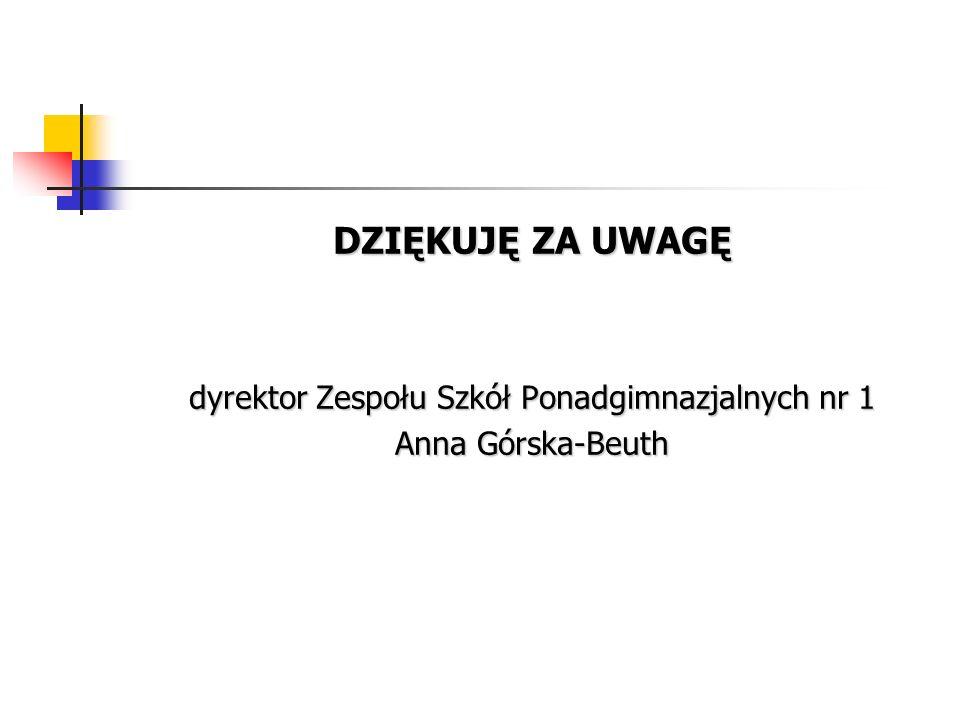 DZIĘKUJĘ ZA UWAGĘ dyrektor Zespołu Szkół Ponadgimnazjalnych nr 1 Anna Górska-Beuth