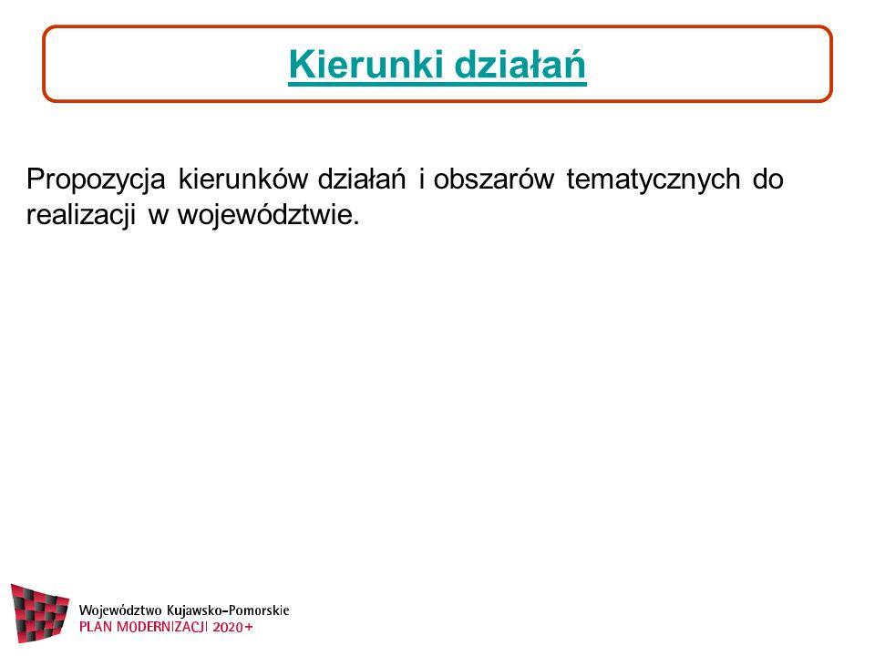 Kierunki działań Propozycja kierunków działań i obszarów tematycznych do realizacji w województwie.