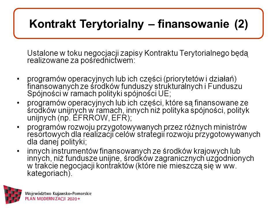 Ustalone w toku negocjacji zapisy Kontraktu Terytorialnego będą realizowane za pośrednictwem: programów operacyjnych lub ich części (priorytetów i działań) finansowanych ze środków funduszy strukturalnych i Funduszu Spójności w ramach polityki spójności UE; programów operacyjnych lub ich części, które są finansowane ze środków unijnych w ramach, innych niż polityka spójności, polityk unijnych (np.