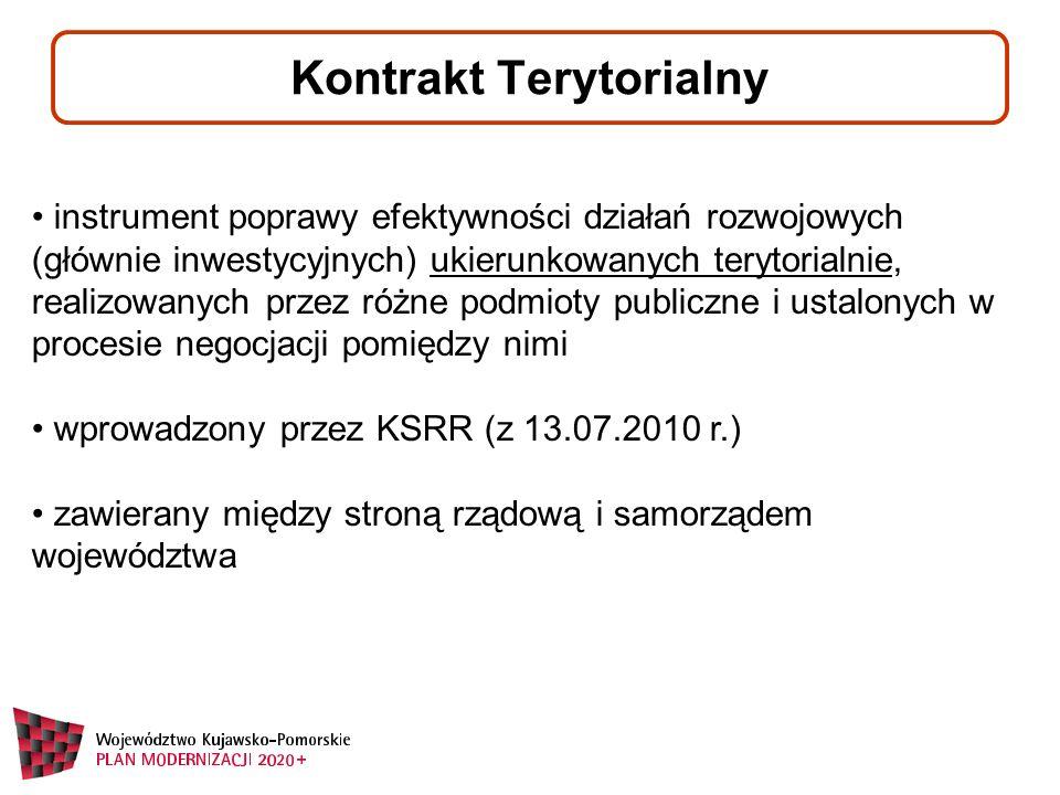 Kontrakt Terytorialny instrument poprawy efektywności działań rozwojowych (głównie inwestycyjnych) ukierunkowanych terytorialnie, realizowanych przez różne podmioty publiczne i ustalonych w procesie negocjacji pomiędzy nimi wprowadzony przez KSRR (z 13.07.2010 r.) zawierany między stroną rządową i samorządem województwa