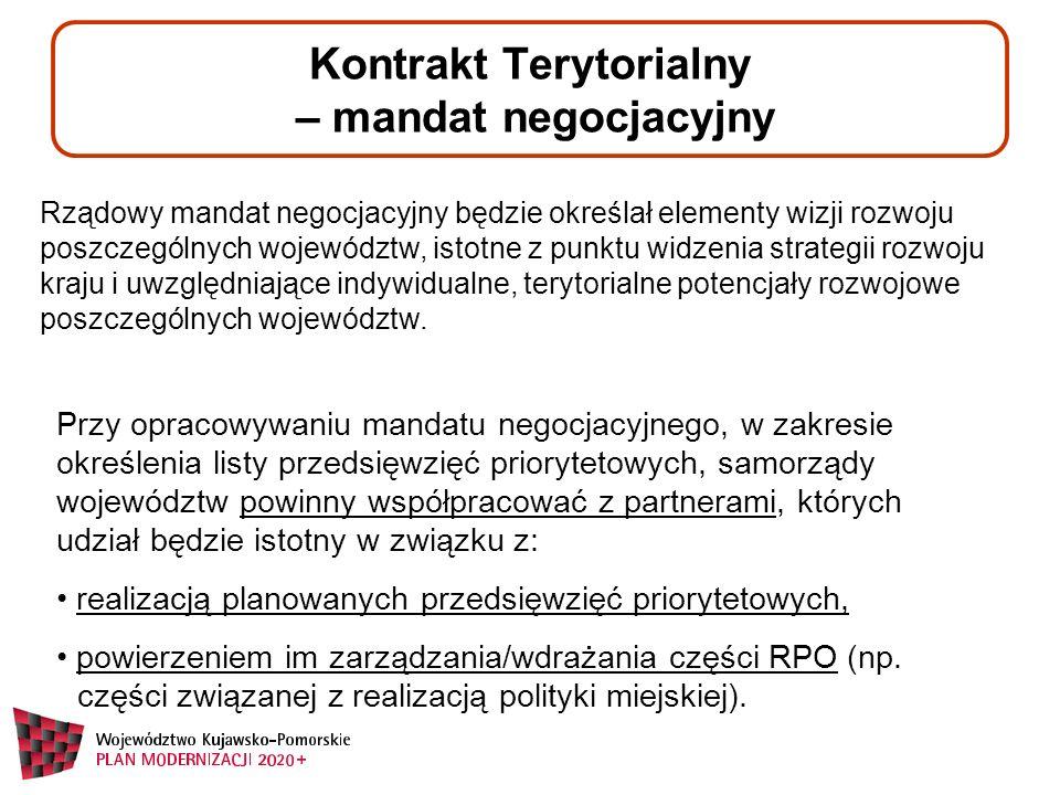 Kontrakt Terytorialny – zawartość mandatu negocjacyjnego Mandat negocjacyjny wizerunek województwa wskaźniki kierunki działań przedsięwzięcia priorytetowe wycena przedsięwzięć ramy negocjacyjne OSI