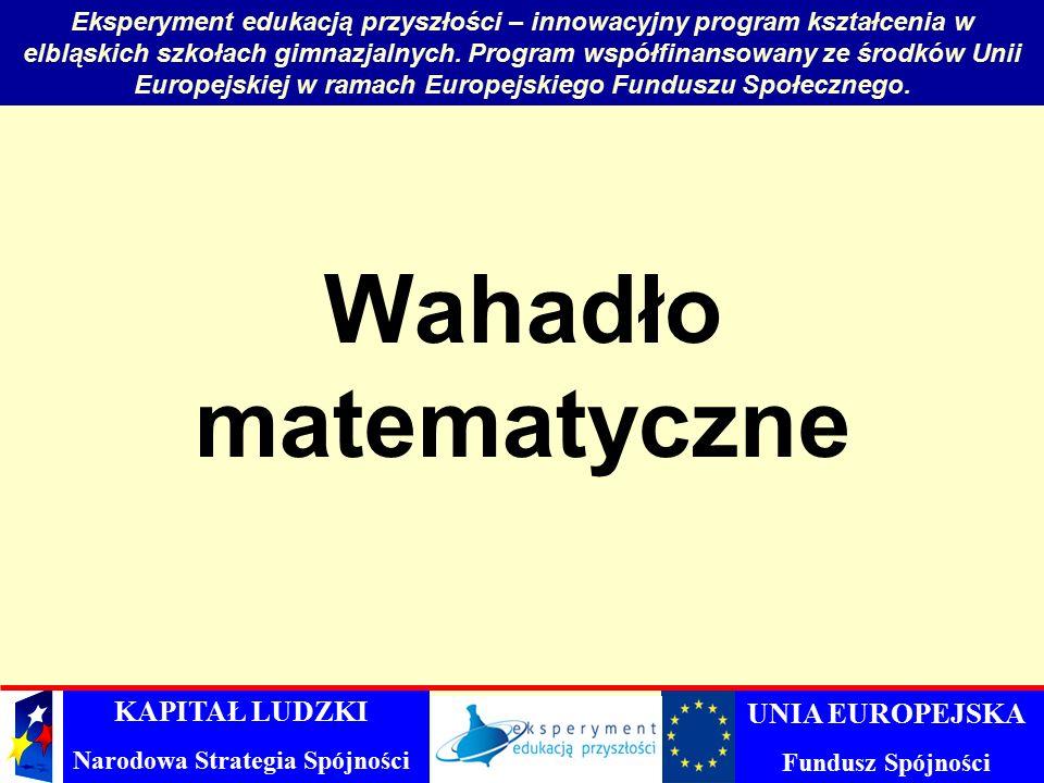 Wahadło matematyczne Eksperyment edukacją przyszłości – innowacyjny program kształcenia w elbląskich szkołach gimnazjalnych.