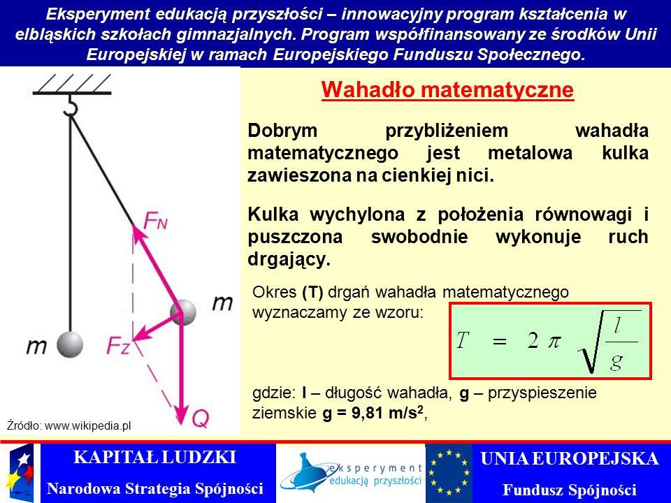 Wahadło matematyczne Dobrym przybliżeniem wahadła matematycznego jest metalowa kulka zawieszona na cienkiej nici.