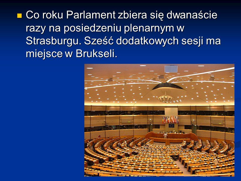 Co roku Parlament zbiera się dwanaście razy na posiedzeniu plenarnym w Strasburgu. Sześć dodatkowych sesji ma miejsce w Brukseli. Co roku Parlament zb