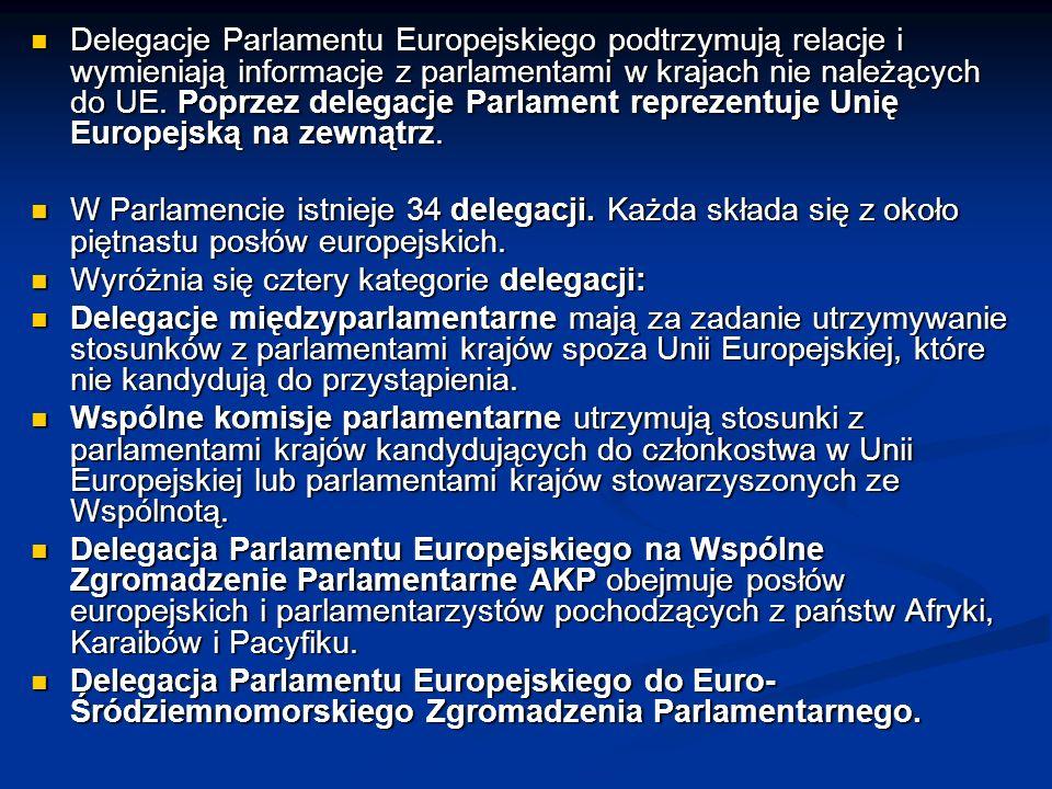 Delegacje Parlamentu Europejskiego podtrzymują relacje i wymieniają informacje z parlamentami w krajach nie należących do UE. Poprzez delegacje Parlam