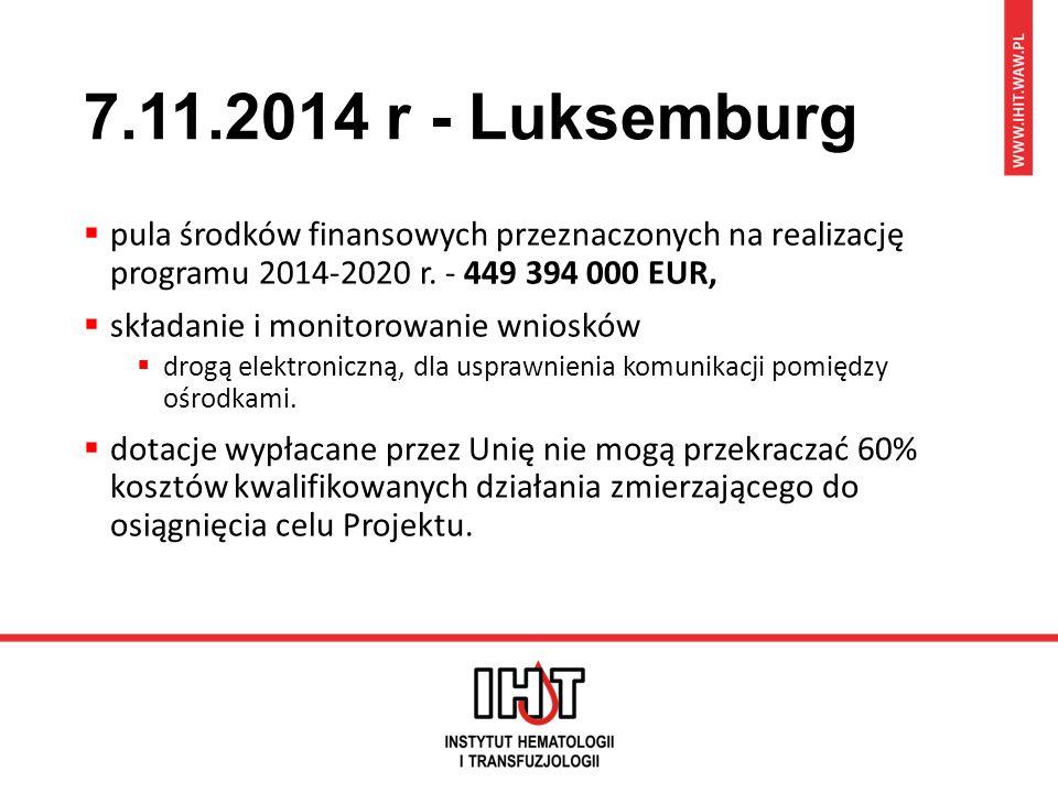 7.11.2014 r - Luksemburg  pula środków finansowych przeznaczonych na realizację programu 2014-2020 r. - 449 394 000 EUR,  składanie i monitorowanie