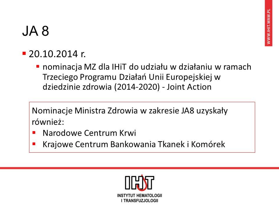 JA 8  20.10.2014 r.  nominacja MZ dla IHiT do udziału w działaniu w ramach Trzeciego Programu Działań Unii Europejskiej w dziedzinie zdrowia (2014-2