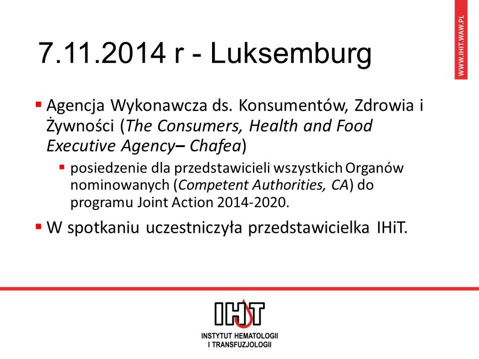 7.11.2014 r - Luksemburg  zasady udziału w projektach Trzeciego Programu działań Unii w dziedzinie zdrowia 2014 – 2020 r  Programy 2003-2008 i 2008-2013 – pozytywna ocena  Program 2014-2020 - korzystanie z osiągnięć programów poprzednich i uwzględnienie wyników i zaleceń audytów zewnętrznych  cele ogólne i cele szczegółowe odnoszące się do zagadnień dotyczących zdrowia obywateli Unii Rozporządzenie Parlamentu Europejskiego i Rady (UE) nr 282/2014 z dnia 11 marca 2014 r.