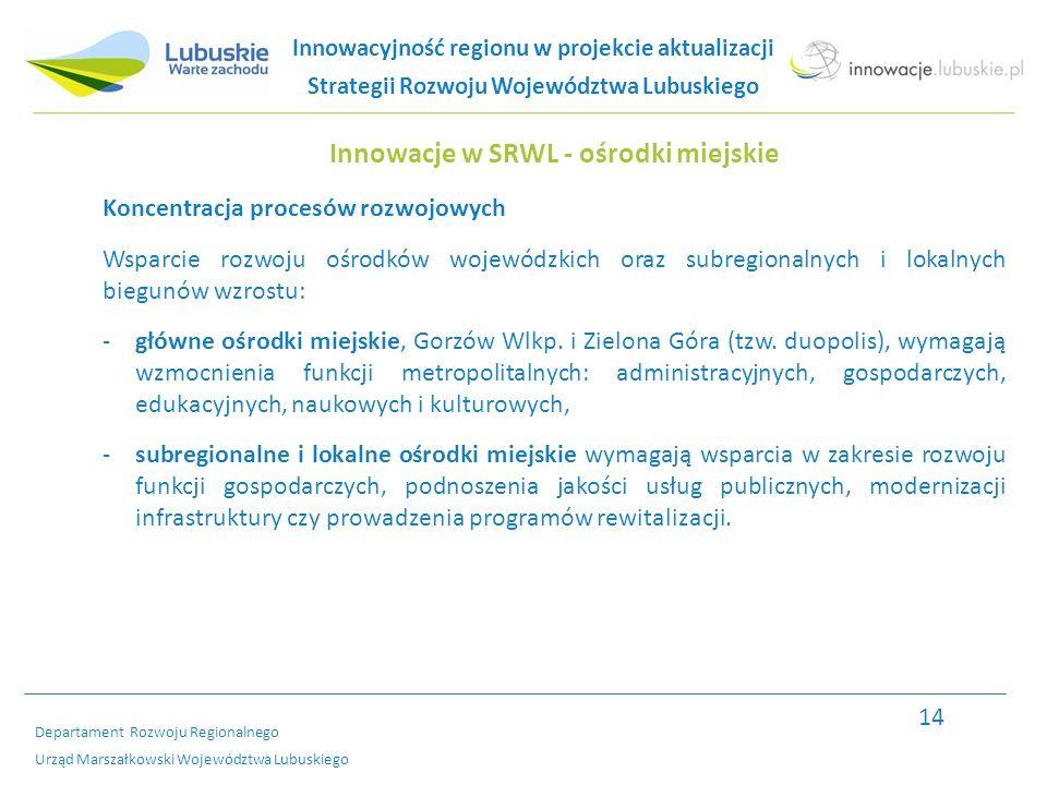 Departament Rozwoju Regionalnego Urząd Marszałkowski Województwa Lubuskiego Innowacje w SRWL - ośrodki miejskie Koncentracja procesów rozwojowych Wsparcie rozwoju ośrodków wojewódzkich oraz subregionalnych i lokalnych biegunów wzrostu: -główne ośrodki miejskie, Gorzów Wlkp.