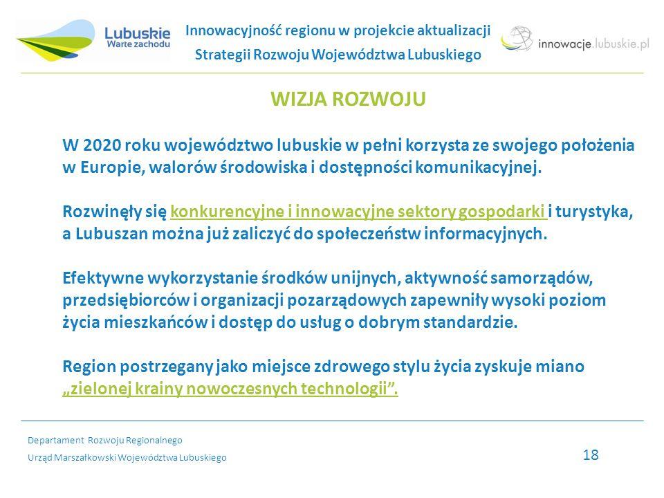 Departament Rozwoju Regionalnego Urząd Marszałkowski Województwa Lubuskiego WIZJA ROZWOJU W 2020 roku województwo lubuskie w pełni korzysta ze swojego położenia w Europie, walorów środowiska i dostępności komunikacyjnej.