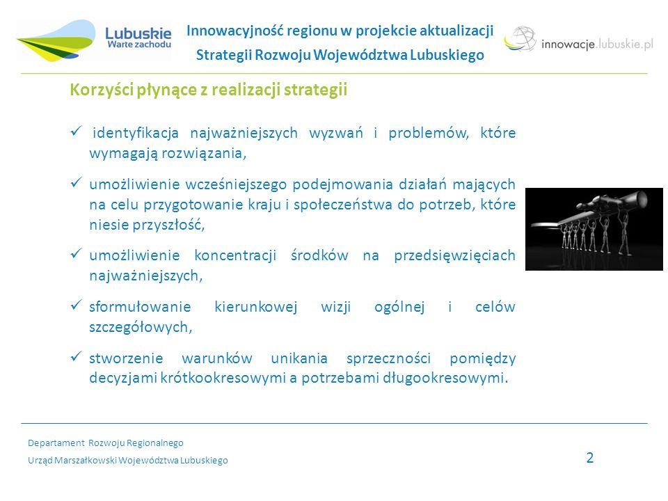 Departament Rozwoju Regionalnego Urząd Marszałkowski Województwa Lubuskiego Innowacje w SRWL – przedsiębiorczość i atrakcyjność inwestycyjna regionu Budowanie atrakcyjności poprzez: - wspieranie tworzenia nowych i zagospodarowania już istniejących stref aktywności gospodarczej, - organizacja zintegrowanego systemu promocji inwestycyjnej całego regionu, - ukierunkowywanie tworzonych stref gospodarczych, np.