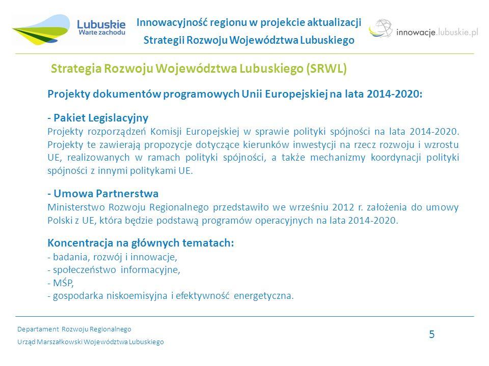 Strategia Rozwoju Województwa Lubuskiego (SRWL) Projekty dokumentów programowych Unii Europejskiej na lata 2014-2020: - Pakiet Legislacyjny Projekty rozporządzeń Komisji Europejskiej w sprawie polityki spójności na lata 2014-2020.