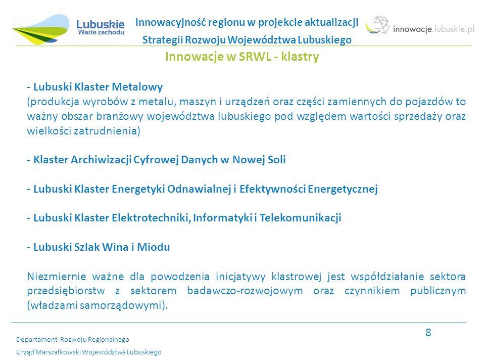 Departament Rozwoju Regionalnego Urząd Marszałkowski Województwa Lubuskiego Innowacje w SRWL - parki naukowo-technologiczne Pierwsze trzy kluczowe inwestycje regionalne (z 24) to budowa parków naukowo- technologicznych, są to: - Lubuski Park Przemysłowo - Technologiczny (LPPT) z siedzibą w Nowym Kisielinie: -Centrum Logistyczne -Centrum Technologii Informatycznych -Centrum Budownictwa Zrównoważonego i Energii -Centrum Innowacji Technologie dla Zdrowia Człowieka - Park Technologii i Logistyki Przemysłu INTERIOR w Nowej Soli - Tworzenie parku w okolicach Gorzowa Wlkp.