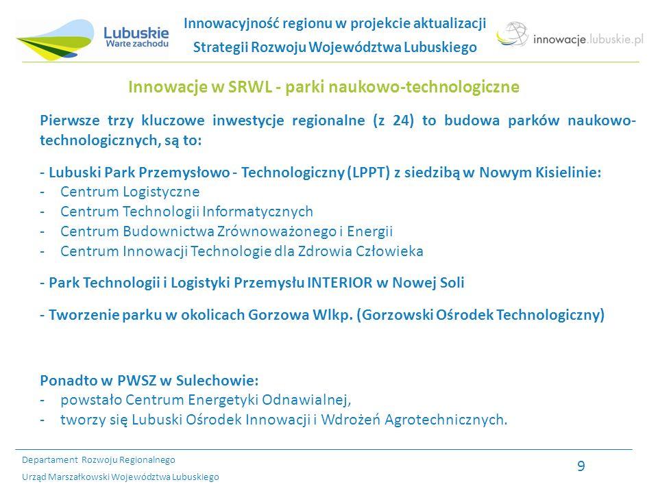 Departament Rozwoju Regionalnego Urząd Marszałkowski Województwa Lubuskiego Cele strategiczne 1.