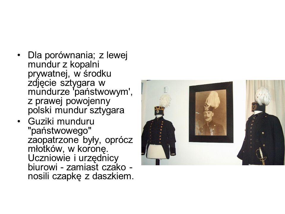 Dla porównania; z lewej mundur z kopalni prywatnej, w środku zdjęcie sztygara w mundurze 'państwowym', z prawej powojenny polski mundur sztygara Guzik