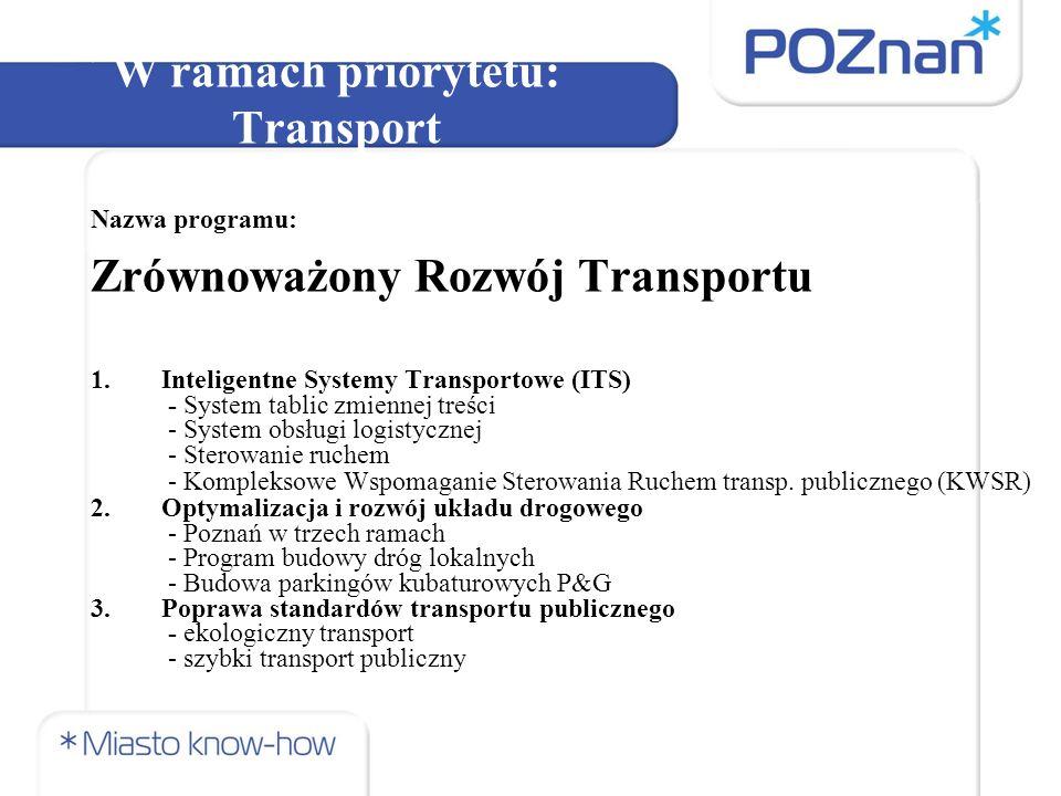 W ramach priorytetu: Transport Nazwa programu: Zrównoważony Rozwój Transportu 4.