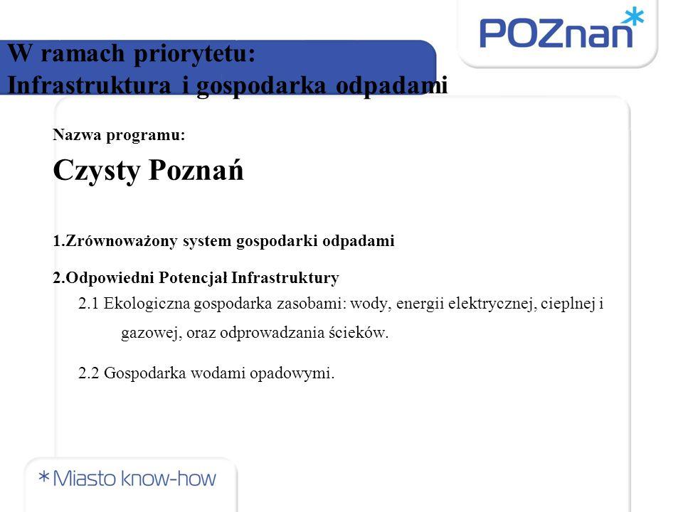 W ramach priorytetu: Infrastruktura i gospodarka odpadami Nazwa programu: Czysty Poznań 1.Zrównoważony system gospodarki odpadami 2.Odpowiedni Potencjał Infrastruktury 2.1 Ekologiczna gospodarka zasobami: wody, energii elektrycznej, cieplnej i gazowej, oraz odprowadzania ścieków.