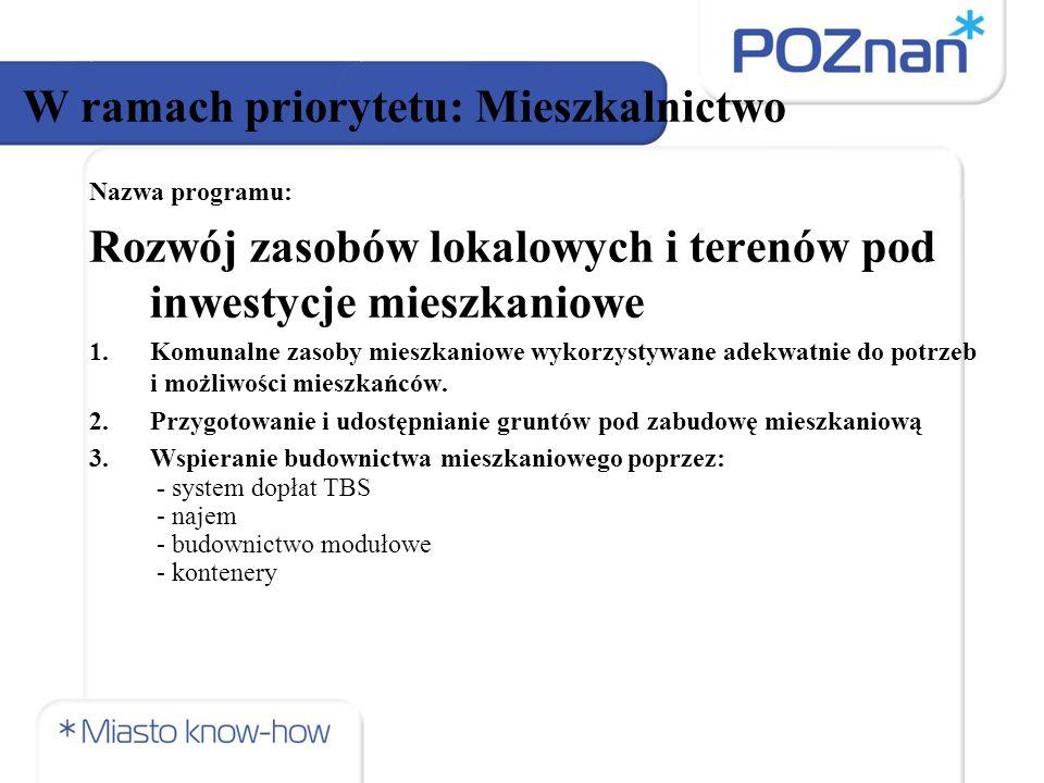 Nazwa programu: Program Rewitalizacji Miasta W ramach priorytetu: Gospodarowanie Przestrzenią