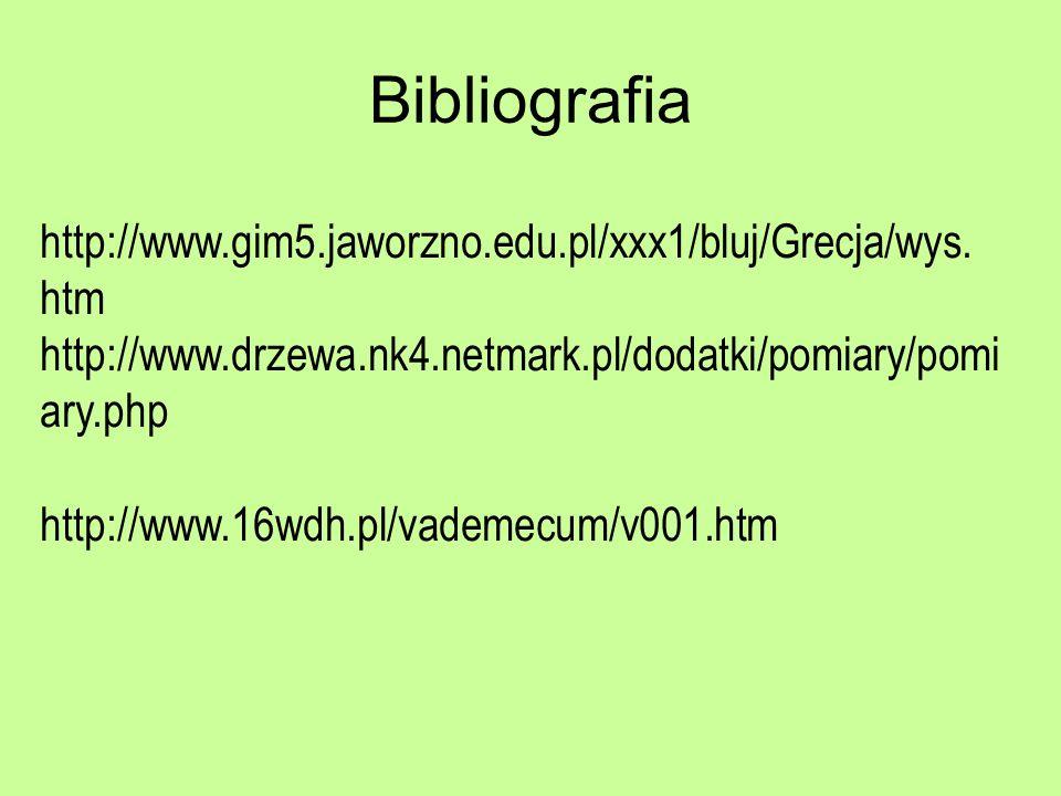 Bibliografia http://www.gim5.jaworzno.edu.pl/xxx1/bluj/Grecja/wys. htm http://www.drzewa.nk4.netmark.pl/dodatki/pomiary/pomi ary.php http://www.16wdh.
