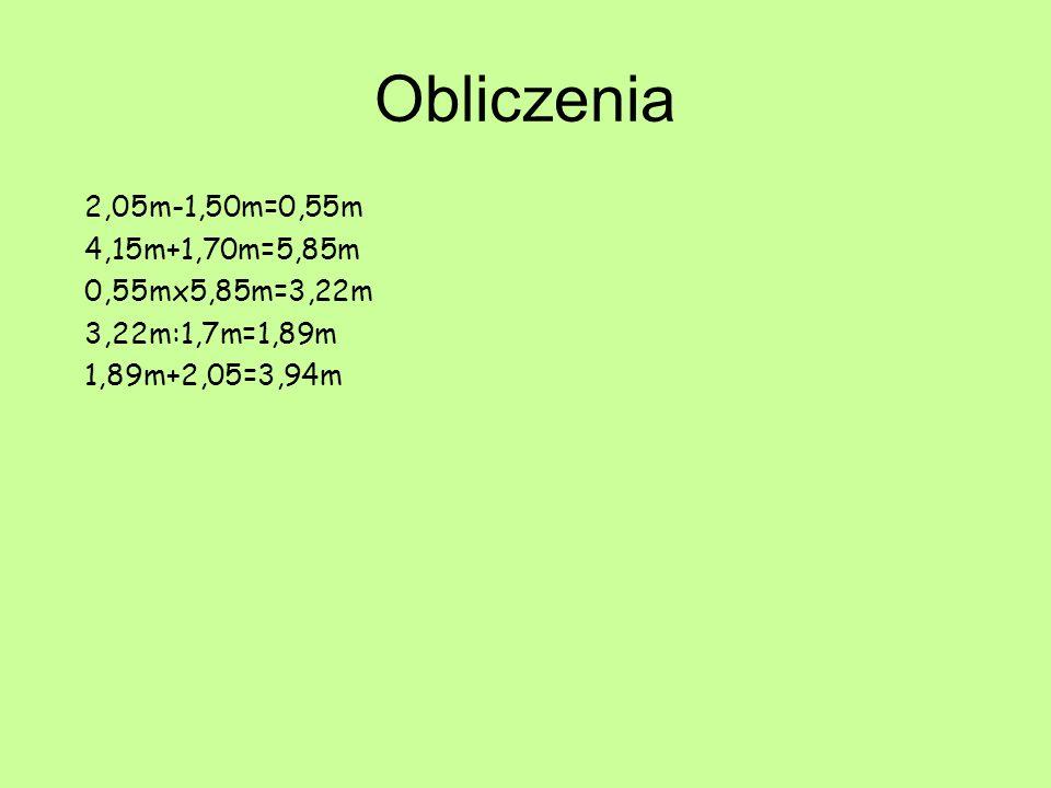Obliczenia 2,05m-1,50m=0,55m 4,15m+1,70m=5,85m 0,55mx5,85m=3,22m 3,22m:1,7m=1,89m 1,89m+2,05=3,94m
