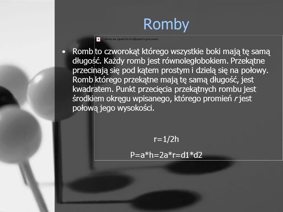 Romby Romb to czworokąt którego wszystkie boki mają tę samą długość. Każdy romb jest równoległobokiem. Przekątne przecinają się pod kątem prostym i dz