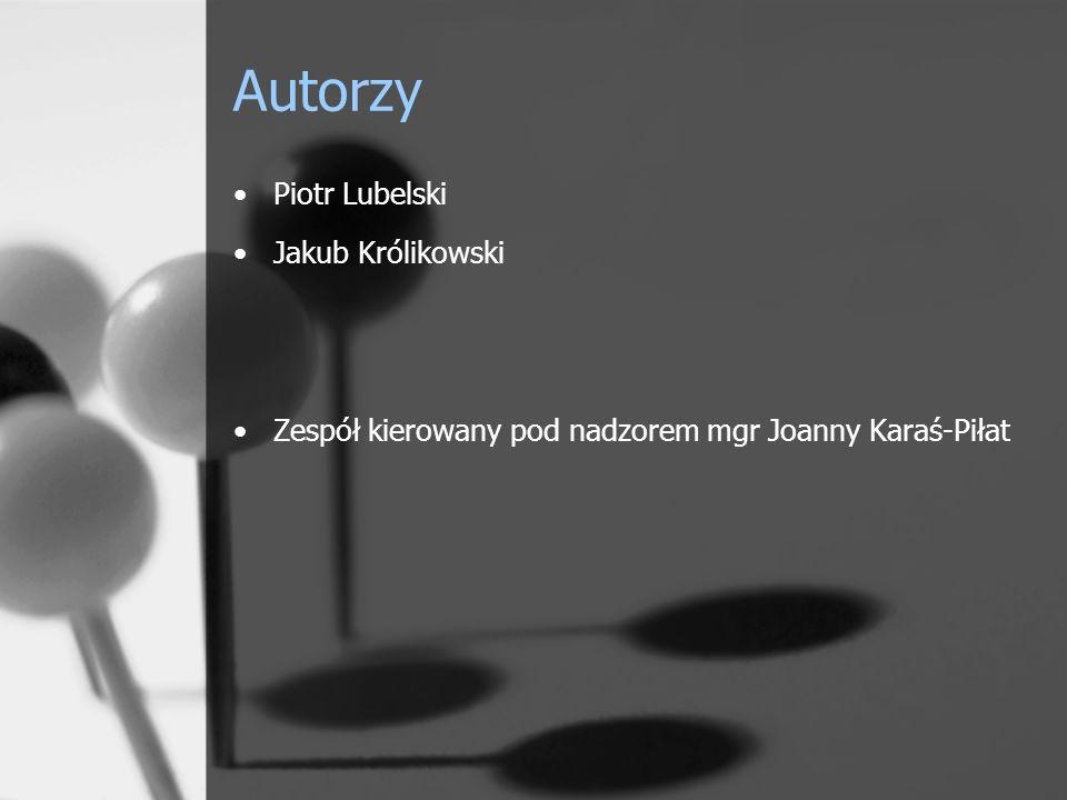 Autorzy Piotr Lubelski Jakub Królikowski Zespół kierowany pod nadzorem mgr Joanny Karaś-Piłat