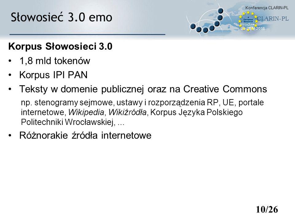 Słowosieć 3.0 emo Korpus Słowosieci 3.0 1,8 mld tokenów Korpus IPI PAN Teksty w domenie publicznej oraz na Creative Commons np. stenogramy sejmowe, us