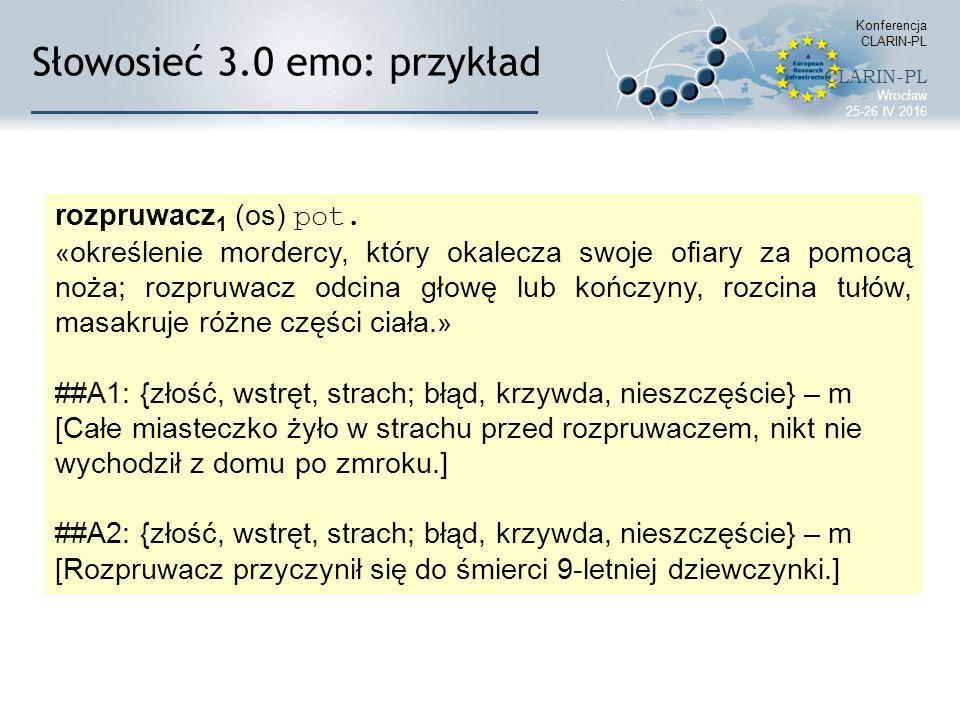 Słowosieć 3.0 emo: przykład Konferencja CLARIN-PL CLARIN-PL Wrocław 25-26 IV 2016 rozpruwacz 1 (os) pot. « określenie mordercy, który okalecza swoje o