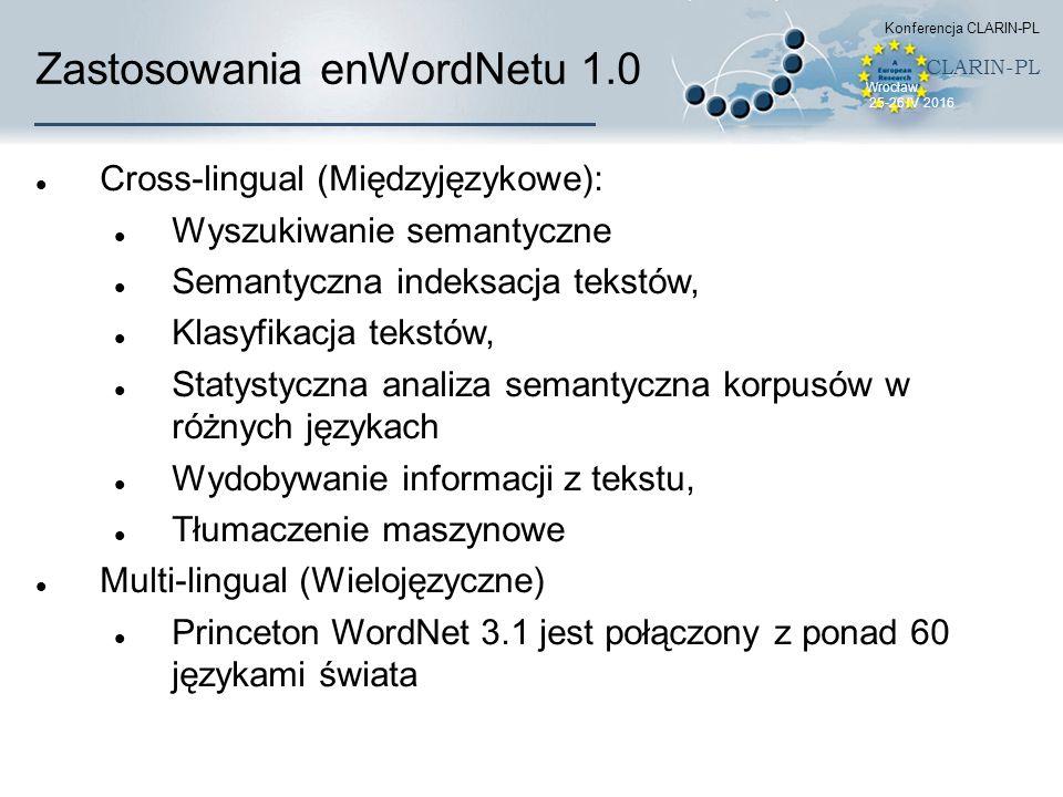 Zastosowania enWordNetu 1.0 Cross-lingual (Międzyjęzykowe): Wyszukiwanie semantyczne Semantyczna indeksacja tekstów, Klasyfikacja tekstów, Statystyczn
