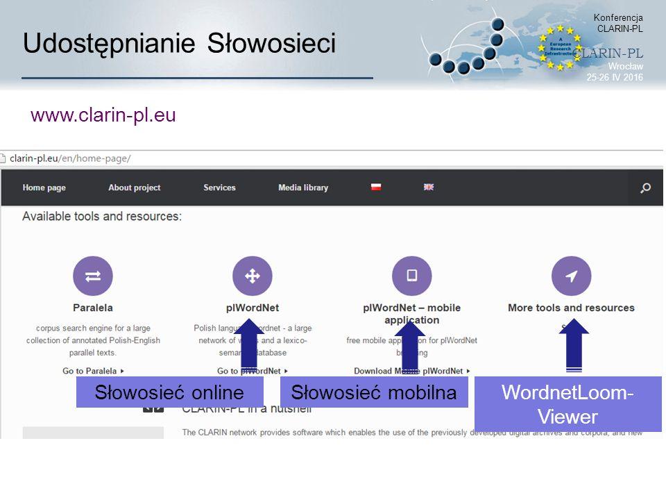Udostępnianie Słowosieci Konferencja CLARIN-PL CLARIN-PL Wrocław 25-26 IV 2016 Słowosieć online Słowosieć mobilna WordnetLoom- Viewer www.clarin-pl.eu