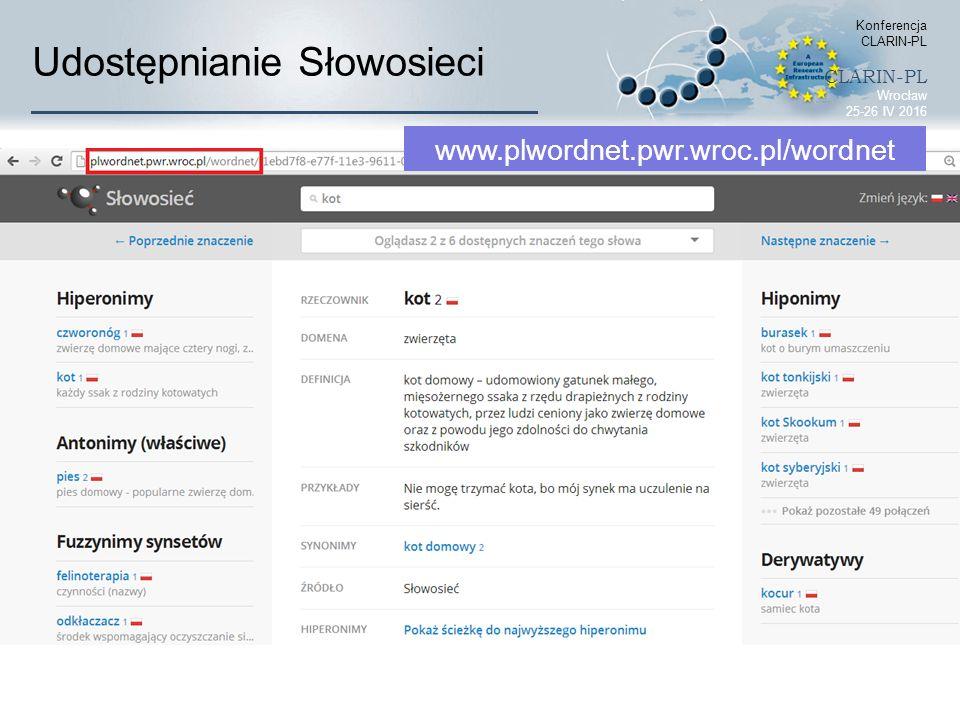Udostępnianie Słowosieci Konferencja CLARIN-PL CLARIN-PL Wrocław 25-26 IV 2016 www.plwordnet.pwr.wroc.pl/wordnet