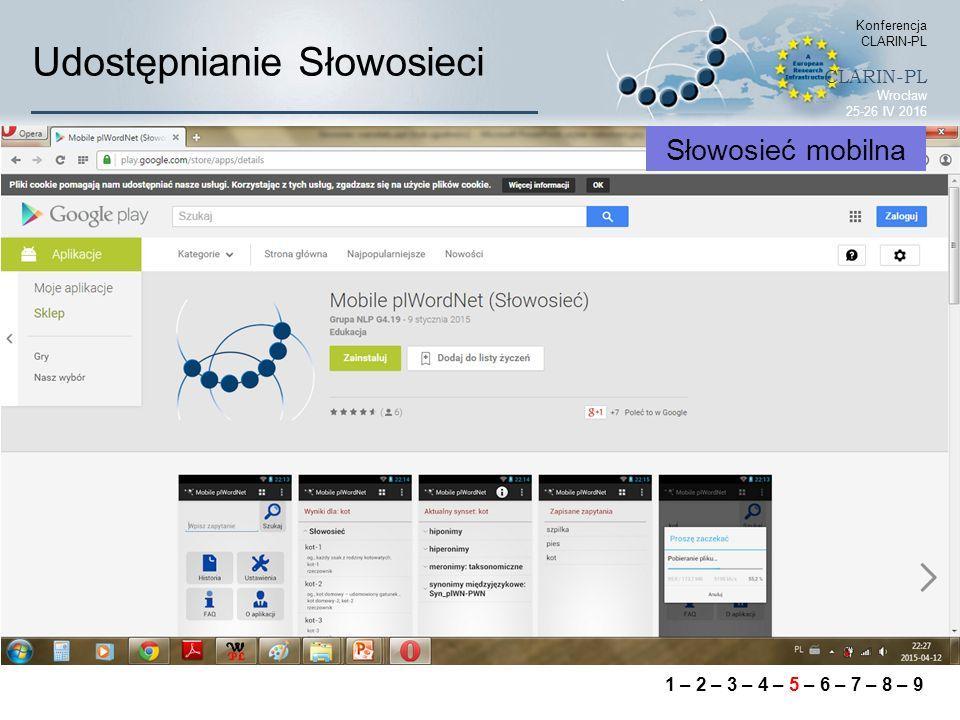 Udostępnianie Słowosieci Konferencja CLARIN-PL CLARIN-PL Wrocław 25-26 IV 2016 Słowosieć mobilna 1 – 2 – 3 – 4 – 5 – 6 – 7 – 8 – 9