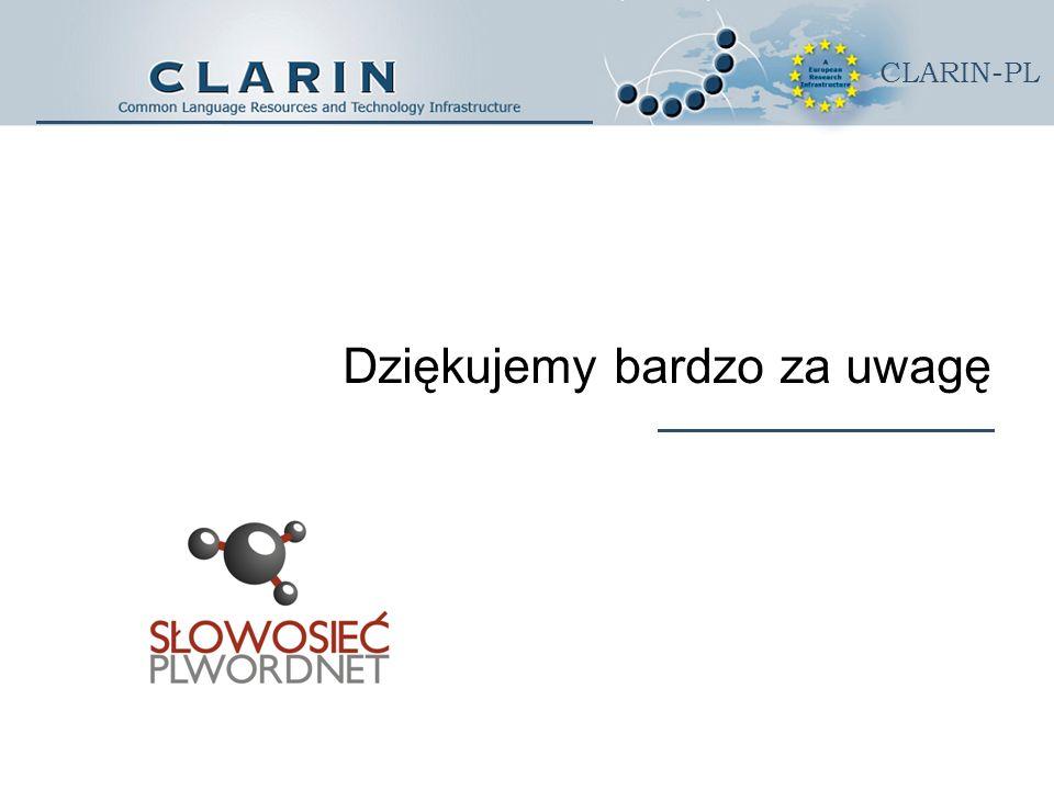 CLARIN-PL Dziękujemy bardzo za uwagę