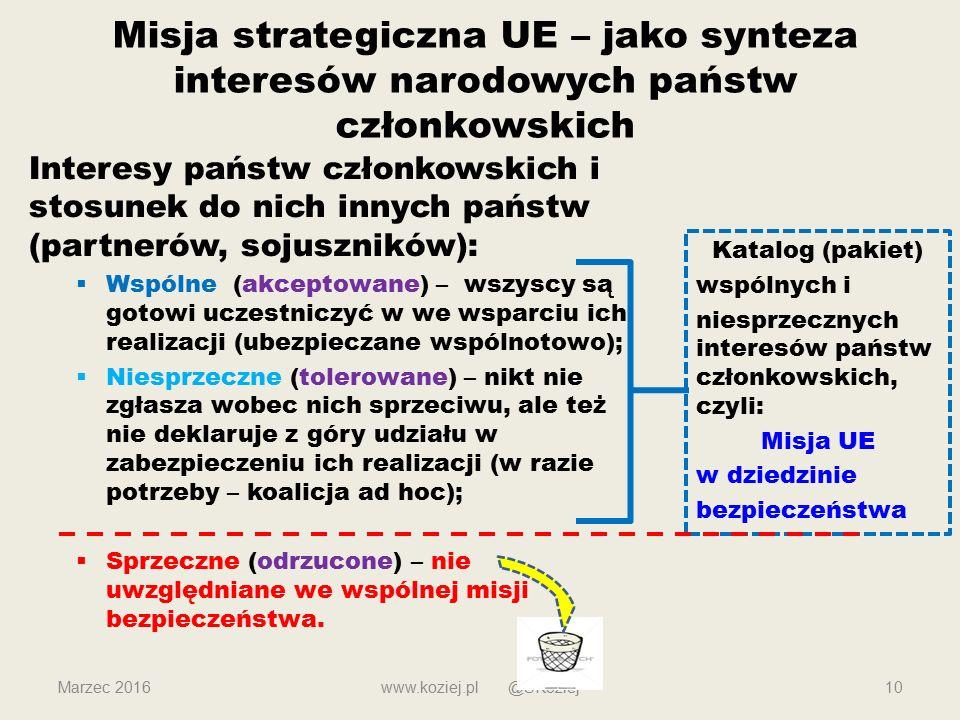 www.koziej.pl @SKoziej10 Misja strategiczna UE – jako synteza interesów narodowych państw członkowskich Interesy państw członkowskich i stosunek do nich innych państw (partnerów, sojuszników):  Wspólne (akceptowane) – wszyscy są gotowi uczestniczyć w we wsparciu ich realizacji (ubezpieczane wspólnotowo);  Niesprzeczne (tolerowane) – nikt nie zgłasza wobec nich sprzeciwu, ale też nie deklaruje z góry udziału w zabezpieczeniu ich realizacji (w razie potrzeby – koalicja ad hoc);  Sprzeczne (odrzucone) – nie uwzględniane we wspólnej misji bezpieczeństwa.