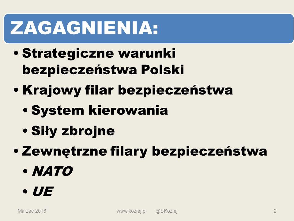 ZAGAGNIENIA: Strategiczne warunki bezpieczeństwa Polski Krajowy filar bezpieczeństwa System kierowania Siły zbrojne Zewnętrzne filary bezpieczeństwa NATO UE Marzec 2016www.koziej.pl @SKoziej2