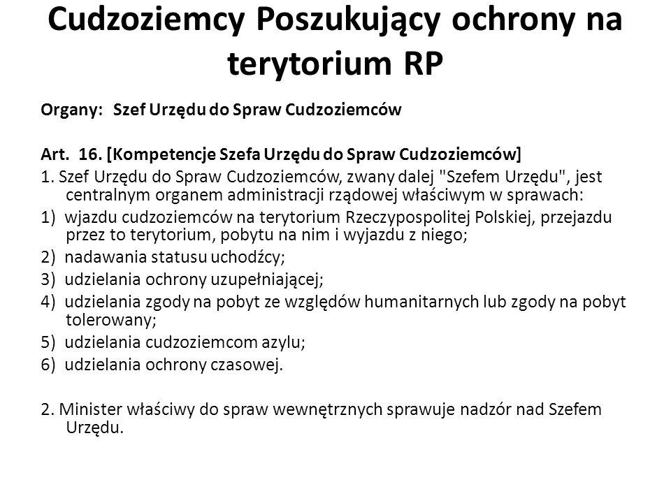 Cudzoziemcy Poszukujący ochrony na terytorium RP Organy: Szef Urzędu do Spraw Cudzoziemców Art.