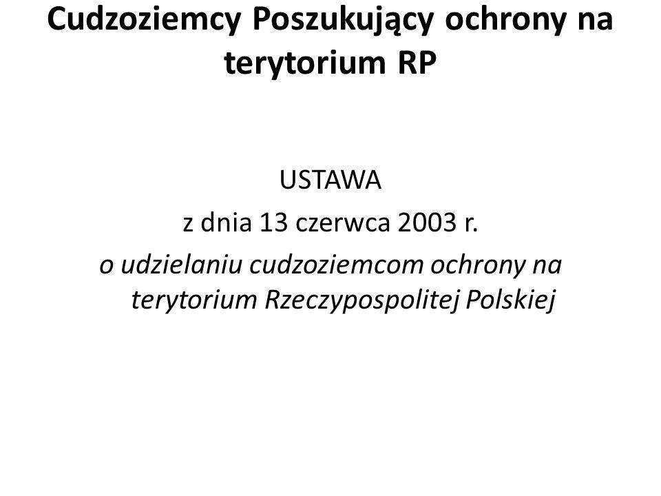 Cudzoziemcy Poszukujący ochrony na terytorium RP USTAWA z dnia 13 czerwca 2003 r.
