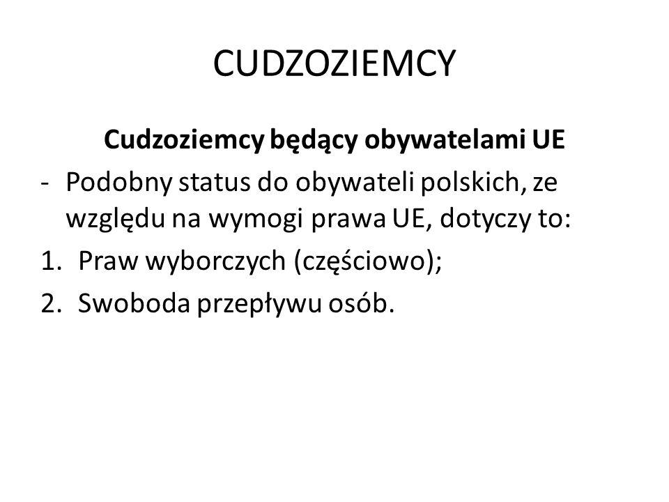 CUDZOZIEMCY Cudzoziemcy będący obywatelami UE -Podobny status do obywateli polskich, ze względu na wymogi prawa UE, dotyczy to: 1.Praw wyborczych (częściowo); 2.Swoboda przepływu osób.