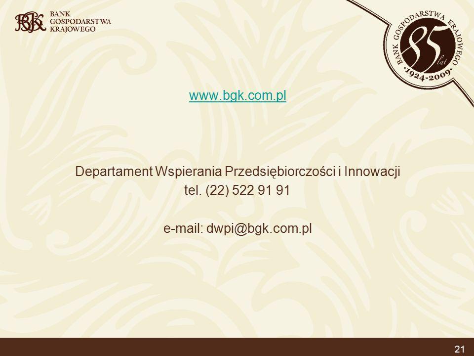 21 www.bgk.com.pl Departament Wspierania Przedsiębiorczości i Innowacji tel.