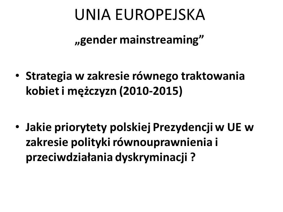"""UNIA EUROPEJSKA """"gender mainstreaming"""" Strategia w zakresie równego traktowania kobiet i mężczyzn (2010-2015) Jakie priorytety polskiej Prezydencji w"""