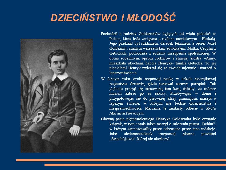 Henryk Goldszmit uczęszczał do Gimnazjum Praskiego, w którym nauka odbywała się w języku rosyjskim.