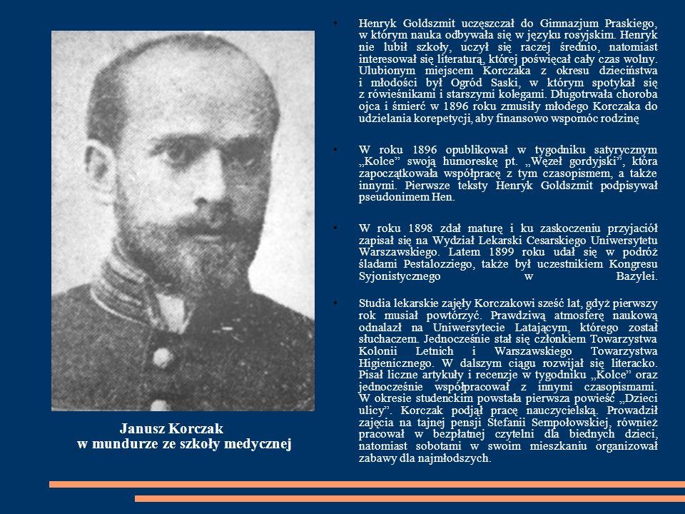 W SŁUŻBIE MEDYCZNO-PEDAGOGICZNEJ W marcu 1905 roku Janusz Korczak otrzymał dyplom lekarza i podjął pracę w Warszawie w Szpitalu dla Dzieci im.